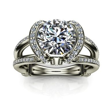 Custom Made Open Shank & Setting Diamond Solitaire Engagement Ring