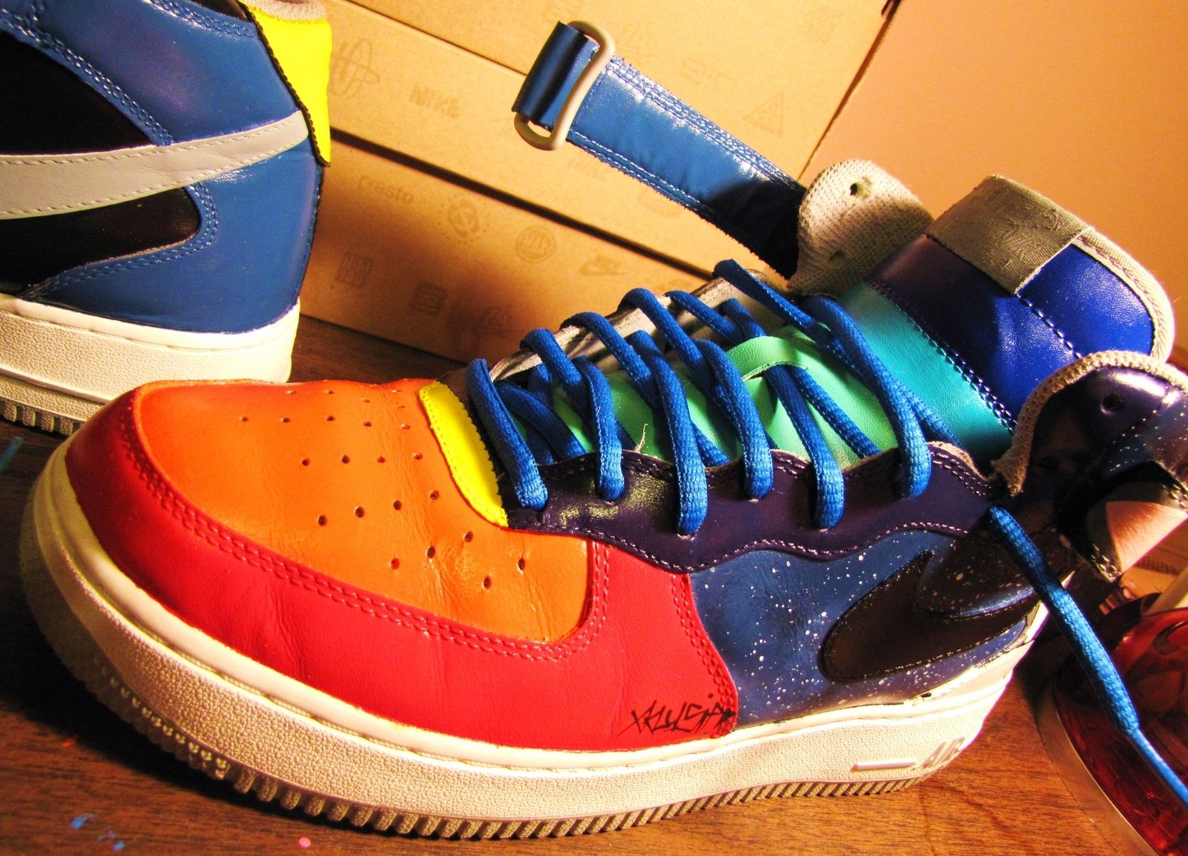 """Handmade Hand Painted Nike """"Space Jam"""" Air Force 1 Mid Customs by"""
