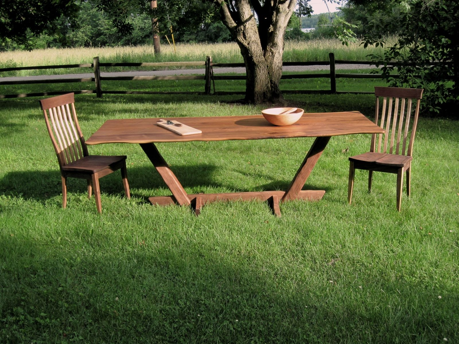 Natural Edge Dining Table With Steel Trestle Custom: Custom Made Black Walnut Live Edge Canted Trestle Dining