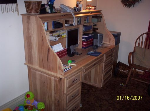 Custom Made Hickory Roll Top Desk
