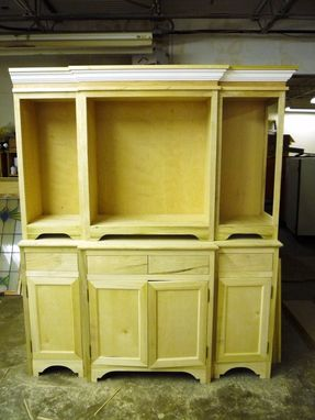Custom Made Two Piece China Cabinet In White Lacquer With Stained Top
