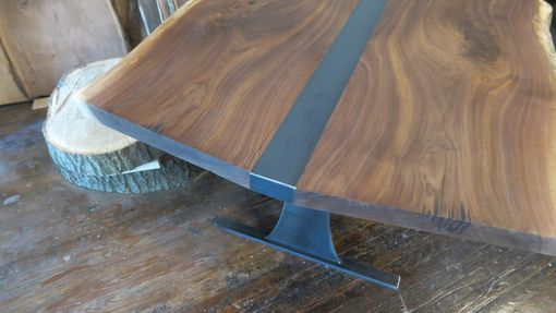 Custom Made Book Matched Walnut And Steel Dining Table
