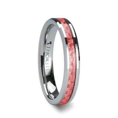 Custom Made Pink Beveled Tungsten Carbide Ring With Pink Carbon Fiber - 4mm & 6mm