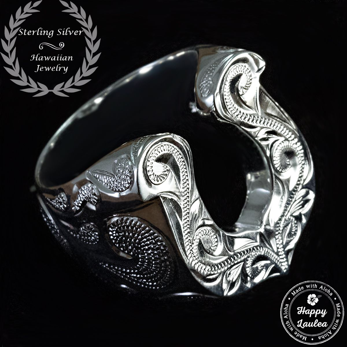 custom made sterling silver horse shoe ring hand engraved hawaiian heritage design - Horseshoe Wedding Rings
