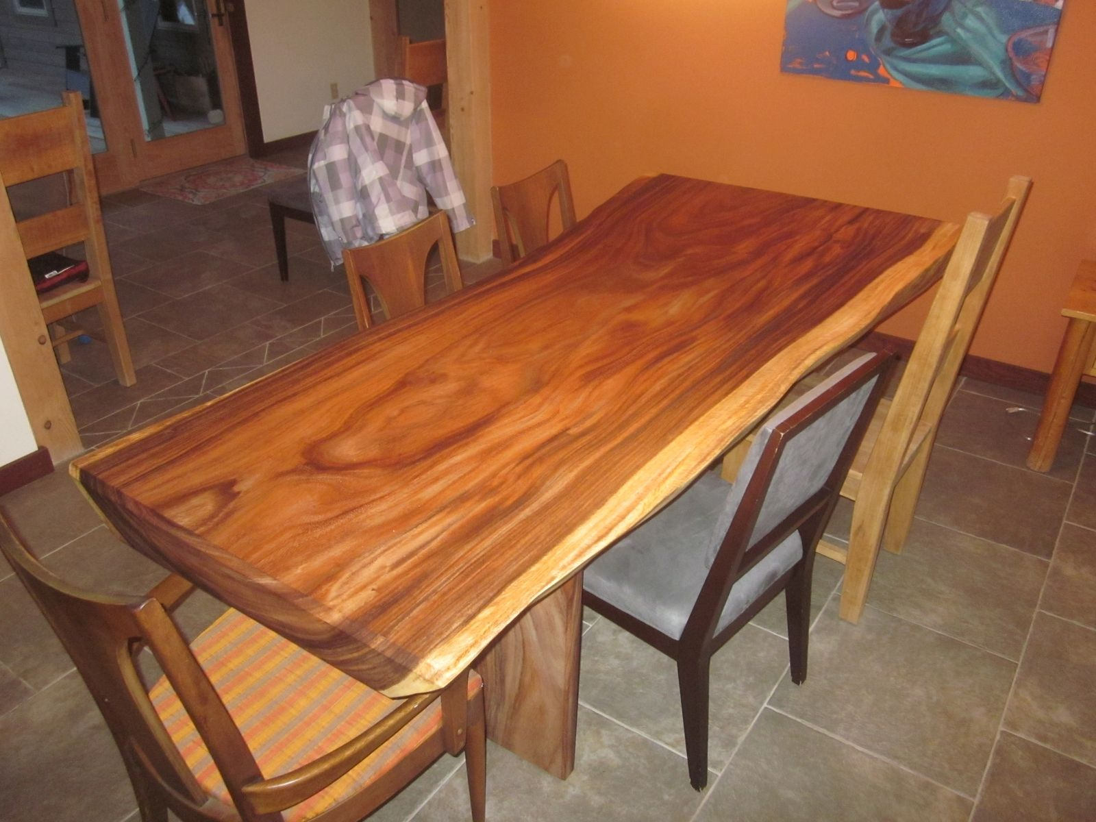 custom acacia slab dining table by clean air woodworks custommade