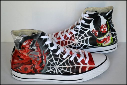 Custom Made Custom Converse, Unisex Converse, Venom,Carnage, Hightops, Painted Shoes, Unisex High Tops