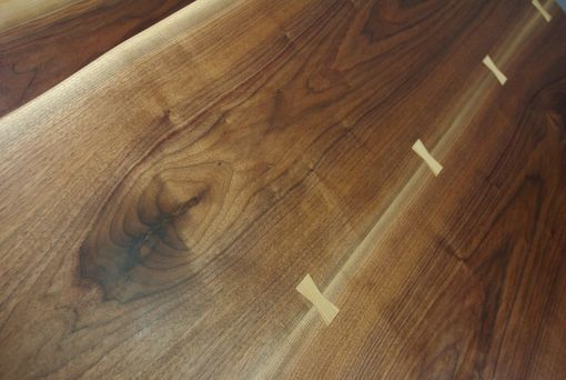 Custom Made Black Walnut Live Edge Slab Dining Table And Bench