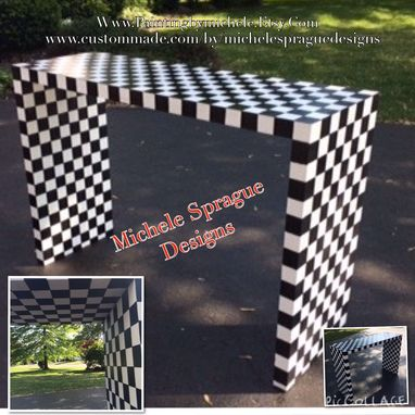 Custom Made Painted Console Table Black And White Checks