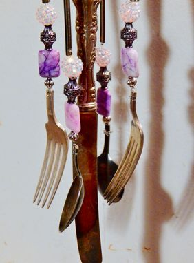 Custom Made Handmade Diamond Design Silver Plate Tea Pot & Flatware Windchime