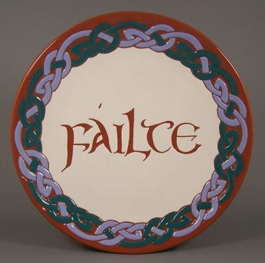 Custom Made Redware Periwinkle And Teal Celtic Braid Plate