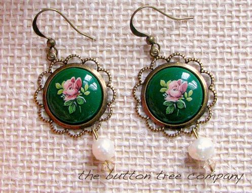 Custom Made Vintage-Inspired Floral Cameo Earrings In Pink And Green