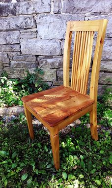 Custom Made Reclaimed Antique Oak Dining Chairs With Curved Back