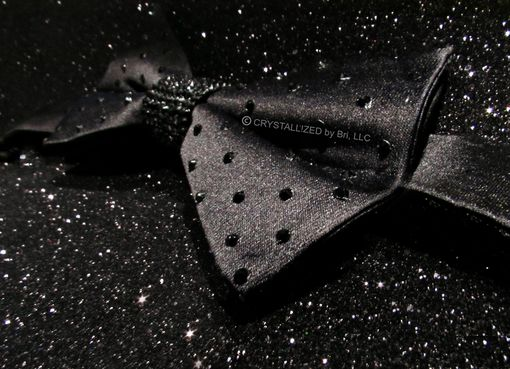 Custom Made Crystallized Black Bow Tie Made With Swarovski Crystals