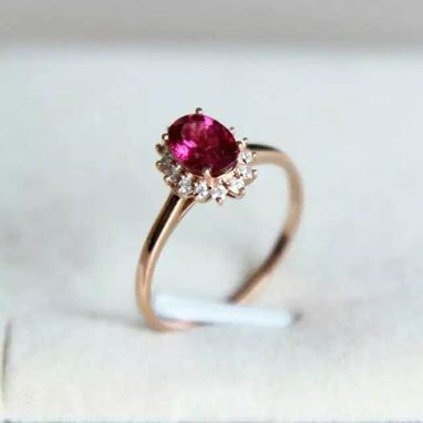 Custom Made 0.92 Carat Rhodolite Ring In 14k Rose Gold