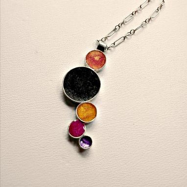 Custom Made Sterling Silver & Colorful Resin Necklace