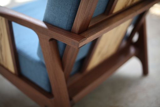 Custom Made Wood And Upholstery Midcentury Modern Lounge Chair