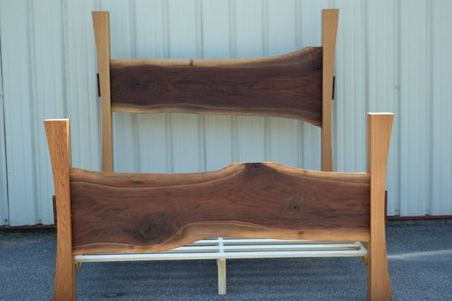 Buy Hand Crafted Live Edge Walnut King Size Bed With White