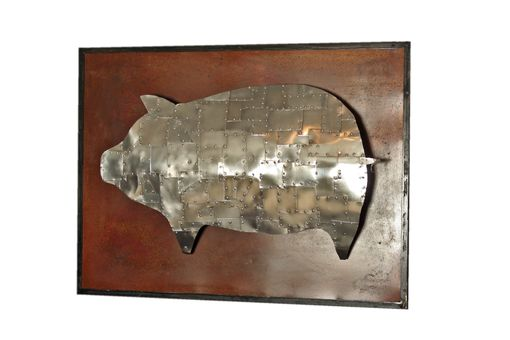 Custom Made Armored Pig Metal Sculpture