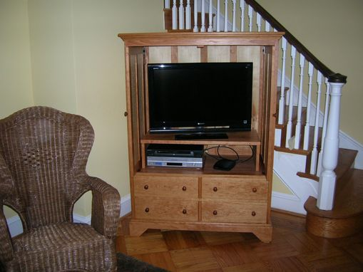 Custom Made Cherry And Tiger Maple T.V. Cabinet
