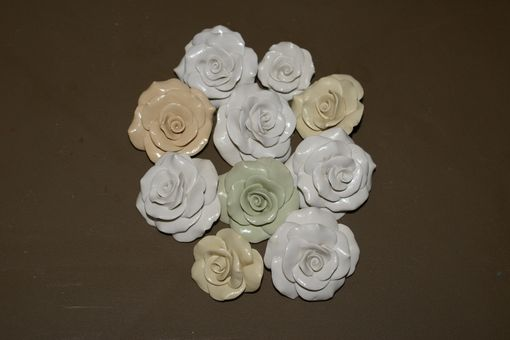 Custom Made Brooch Wedding Bridal Rose Bouquet Vintage Pastel Colors Hand Formed 10 Assorted Size & Color