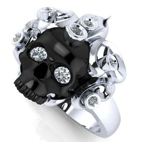 skull engagement ring 925 sterling by dr tom raspotnik - Skull Wedding Rings