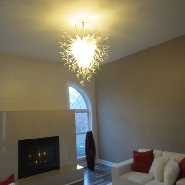 Custom Made Blown Glass Chandelier - White Chandelier - Art Glass Chandelier