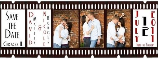 Custom Made Custom 100 Film Strip Save The Date Magnet On Custom Backing Card - Deposit