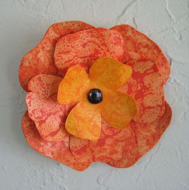 Custom Made Metal Flower Art Wall Hanging Recycled Metal Orange