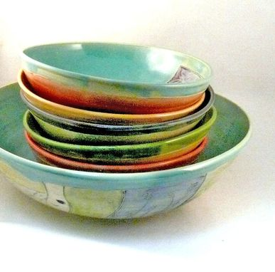 Buy A Custom Made Handmade Art Bowls Pasta Bowl Set With