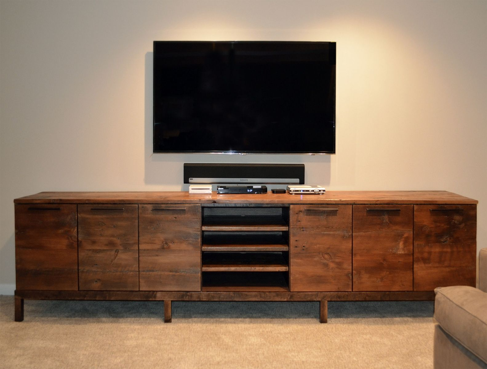 Handmade reclaimed wood media center console by