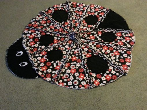 Custom Made Ladybug Rag Quilt For Baby