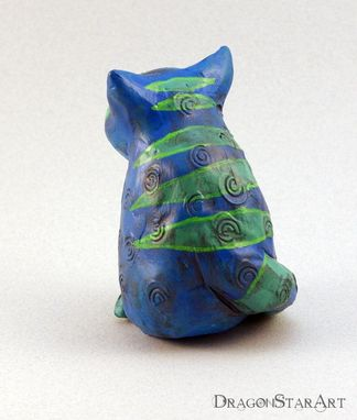 Custom Made Blue Cat Figurine Sculpture With Green Stripes