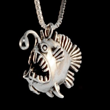 Custom Made Silver Angler Fish Charm Necklace