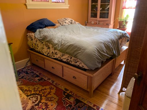Custom Made Oak Twin Beds Used As A King Bed