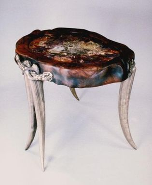 "Custom Made ""Tusk Table"" In Walnut And Bronze With Petrified Wood Top"