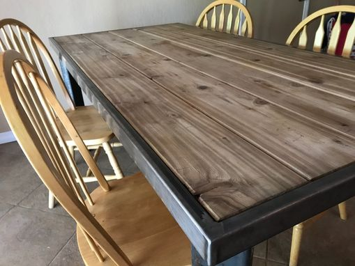 Custom Made Steel Dining Table With Cedar Inlay