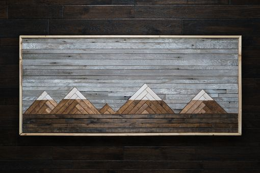 Custom Made Mountain Scape Reclaimed Wood Wall Art By Wood Works Squared Custommade Com