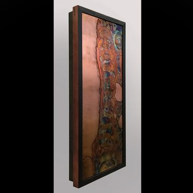 Custom Made Spine Stem - Flame Painted And Inked Copper Wall Art. Framed