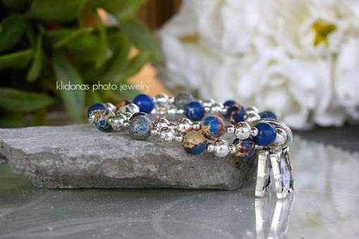 Custom Made Beaded Photo Bracelet, Charm Bracelet, Beautiful Blue Lapis Lazuli Gemstones