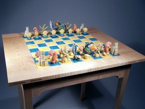 "Custom Made ""Surf's Up"" Handsculpted Porcelain Chess Set And Curly Maple Table"