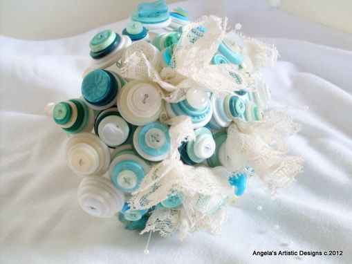 Custom Made Teal Blue Buttons Bridal Bouquet