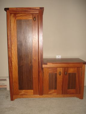 Custom Made Mahogany And Walnut Custom Bench And Storage