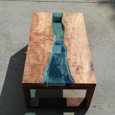 Custom Made River Glass Coffee Table