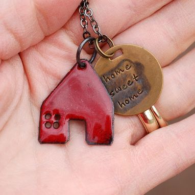 Custom Made Enamel House Pendant Copper Home Necklace Handstamped Brass Tag Enameled Red- Home Sweet Home