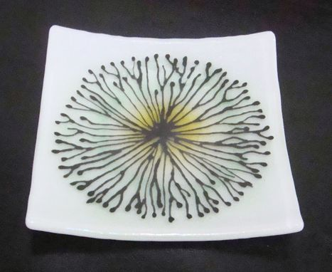 Custom Made Floral Bursts- Fused Glass Plate Set