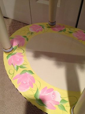 Custom Made Hand Painted Oval Harlequin Pastel Table