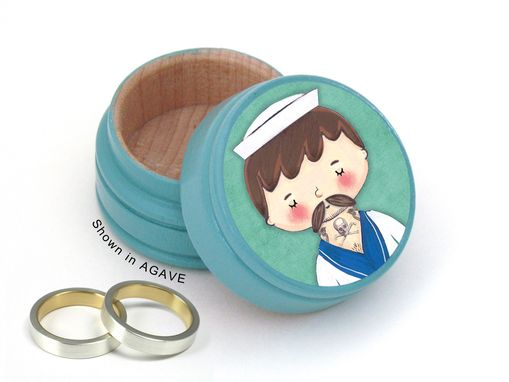 Custom Made Tattooed Sailor Wedding Ring Box - Sailor Non Toxic Vitamin Box - Sailor Pill Box