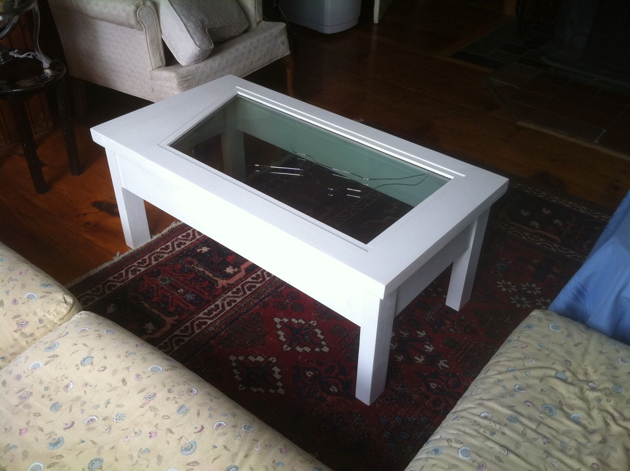 Custom Made Airplane Windshield Glass Coffee Table By