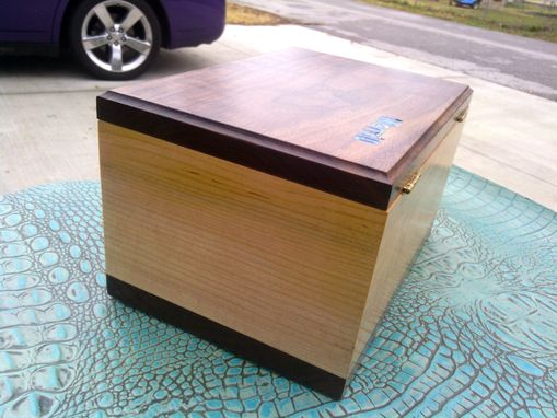 Custom Made Maple And Walnut Keepsake Box With Turquoise Inlay