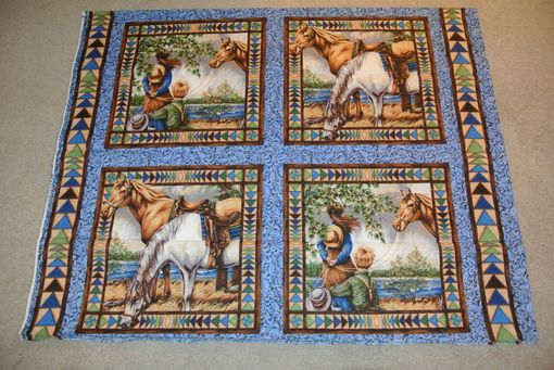 Custom Made Panel Lap Quilts - Cowboy